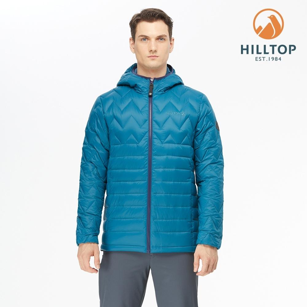 【hilltop山頂鳥】男款超潑水連帽蓄熱羽絨外套F22M07墨水藍