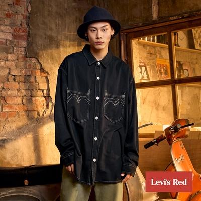 Levis Red 工裝手稿風復刻再造 男款 牛仔襯衫 Oversize寬鬆版型 魚子黑