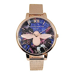 Olivia Burton 英倫復古手錶 3D立體蜜蜂 玫瑰金米蘭錶帶錶框38mm