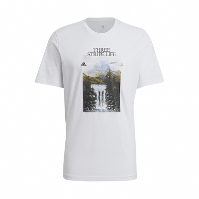 adidas T恤 Athletics Graphic T 男款 圓領 棉質 風景畫 基本版型 白 多色 GN6851