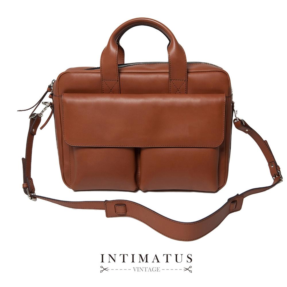 INTIMATUS 真皮 斜背手提兩用公事包 復古棕色