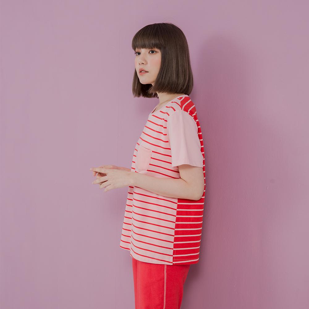 YVONNE絨毛口袋短袖上衣-粉紅