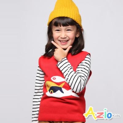 Azio Kids 女童 背心 三色拼接小魚圖樣針織背心 (紅)