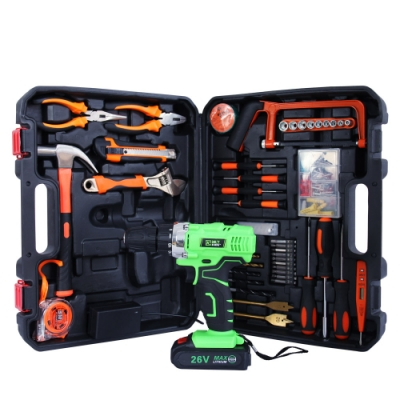 【MS】多功能充電式26V電鑽+113件工具組 (無段變速/大容量電池)