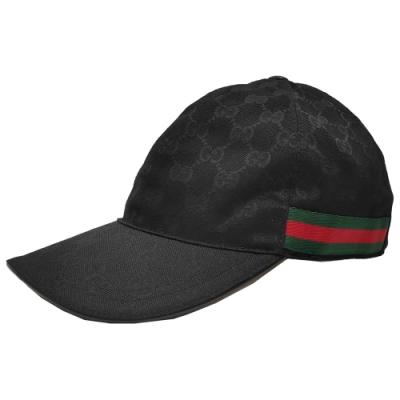 GUCCI 經典GG Supreme帆布綠紅綠織帶飾邊棒球帽(黑色)
