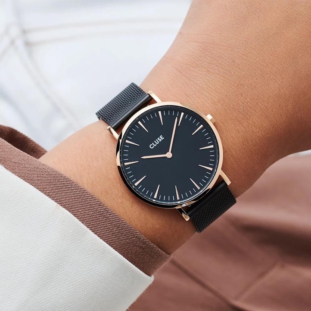 CLUSE La Bohème 波希米亞系列腕錶(金框/黑錶面/黑色不鏽鋼錶帶) 38mm