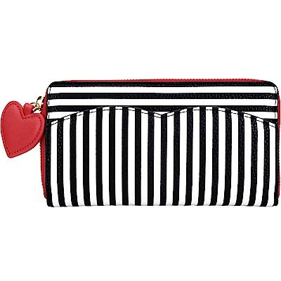 LULU GUINNESS Stripe 紅心綴飾條紋長夾