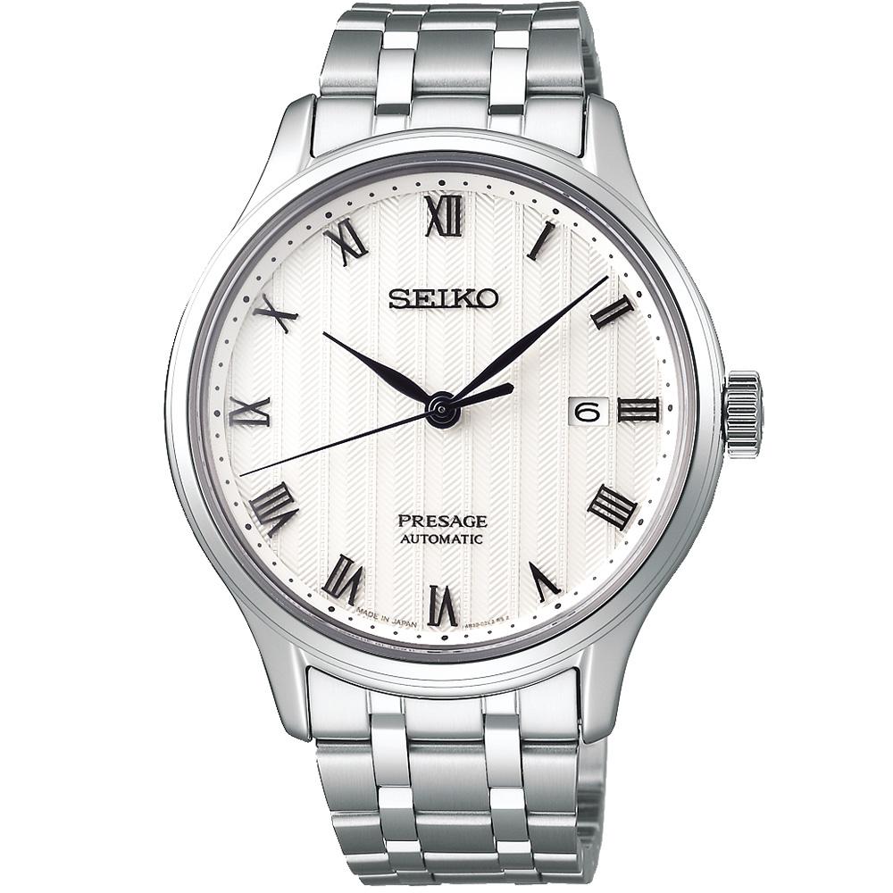 SEIKO精工 Presage日禪風格羅馬機械錶(SRPC79J1)-白/41mm