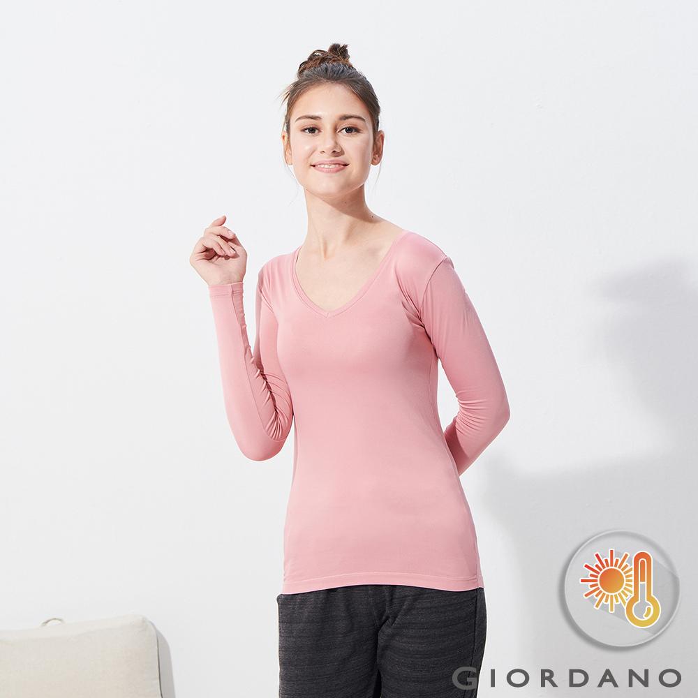 GIORDANO 女款Beau-warmer plus+彈力V領極暖衣-71 粉紅
