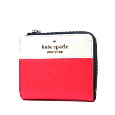 KATE SPADE 金字LOGO拚色防刮對開釦式短夾-紅/白