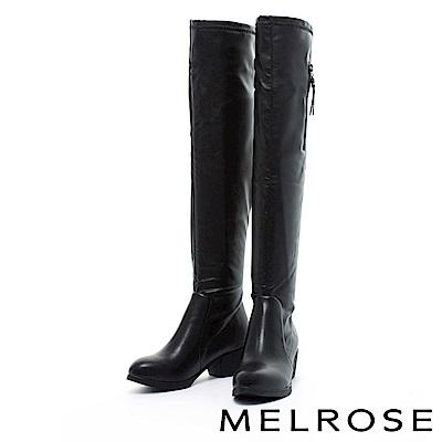 長靴 MELROSE 率性俐落純色粗低跟過膝長靴-藍