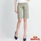 BRAPPERS 女款 女用中低腰磨破五分褲-綠