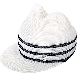 Maison Michel JAMIE 白色條紋貓耳草編帽(展示品)