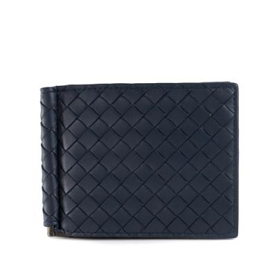 【時時樂】BOTTEGA VENETA 經典編織小羊皮軸釦萬用卡夾/短夾 (藍色)