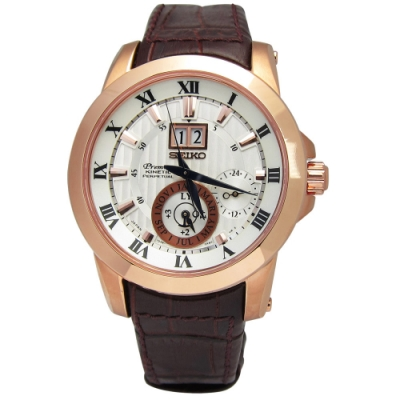 SEIKO 精工 Premier 人動電能 萬年曆 牛皮手錶-白x玫瑰金框x咖啡/42mm