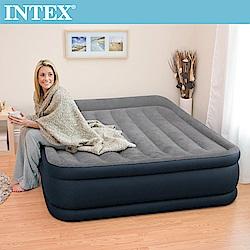 INTEX《豪華三層圍邊》雙人加大充氣床-寬152cm (內建電動幫浦)-灰色(64135
