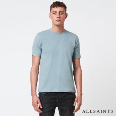 ALLSAINTS BRACE TONIC 公羊頭骨刺繡純棉修身短袖T恤-天空藍