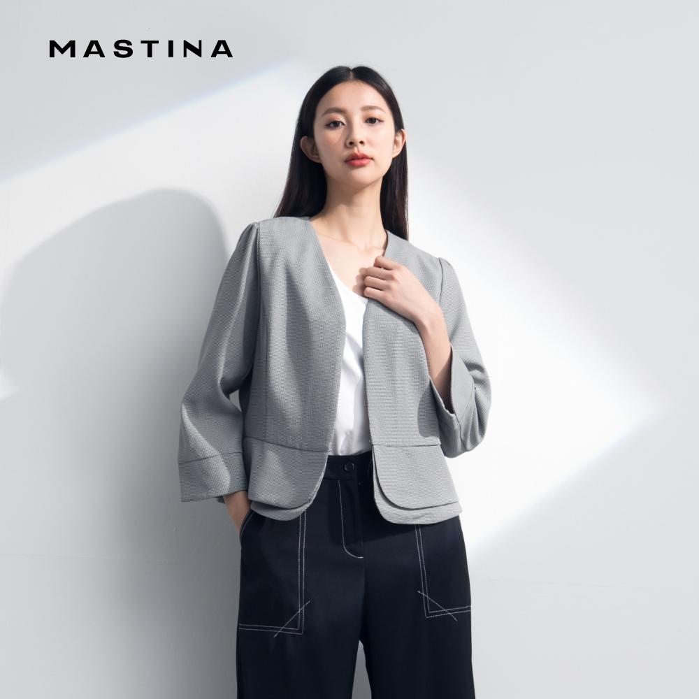 【MASTINA】千鳥格紋造型下襬短版-外套(二色)
