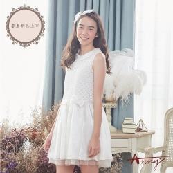 Annys安妮公主-天使的衣裳-圓圈蕾絲蝴蝶結網紗背心洋裝*8117米白