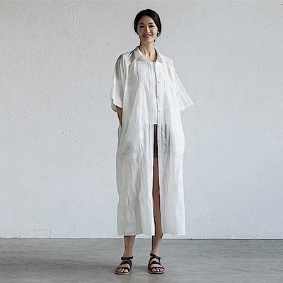 旅途原品_島影_原創設計肌理提花棉質寬鬆連衣裙-米白色