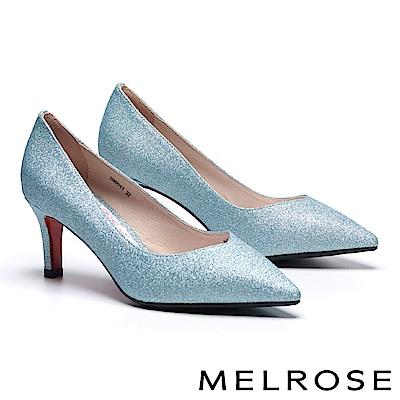 高跟鞋 MELROSE 細緻迷人閃耀金蔥尖頭高跟鞋-藍