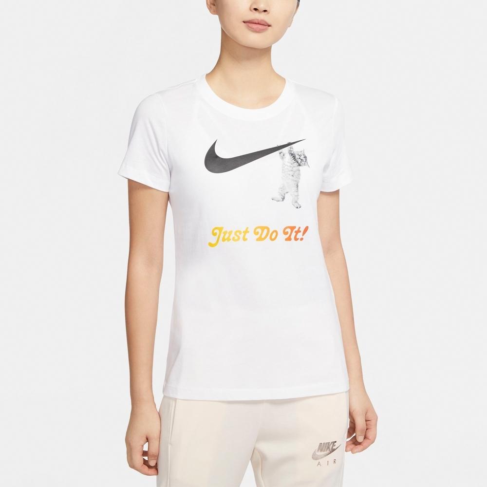 NIKE 短袖上衣 休閒 運動 女款 白 DA2481100 AS W NSW TEE SWOOSH CAT