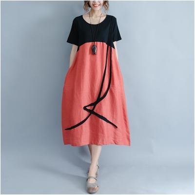 米蘭精品 連身裙短袖洋裝-拼色純棉長版休閒女裙子2色73xz29