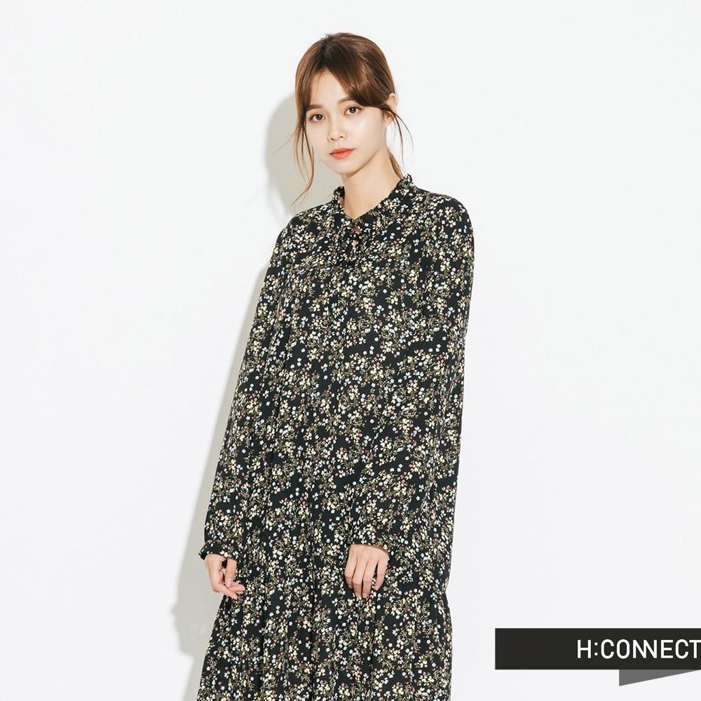 H:CONNECT 韓國品牌 女裝-綁結印花飄逸洋裝-黑