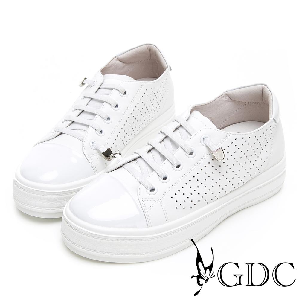 GDC-趣味青春真皮素面基本懶人厚底休閒鞋-白色