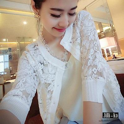 JILLI-KO 蕾絲鏤空圓領開衫外套- 白