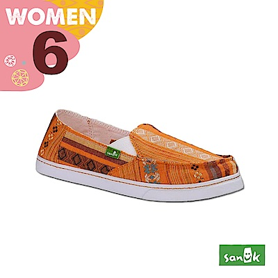 SANUK 女款US6 民俗圖騰休閒鞋(橘色)
