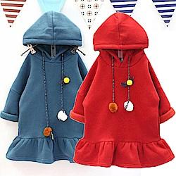 小衣衫童裝    荷葉裙邊連帽毛球繩長袖刷毛T裙1061024