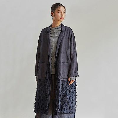 旅途原品_半格詩_原創設計肌理面料亞麻拼接外套-藍/杏