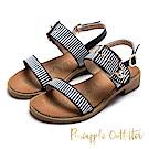 Pineapple Outfitter 海軍風範 金屬扣條紋寬版平底涼鞋-深藍