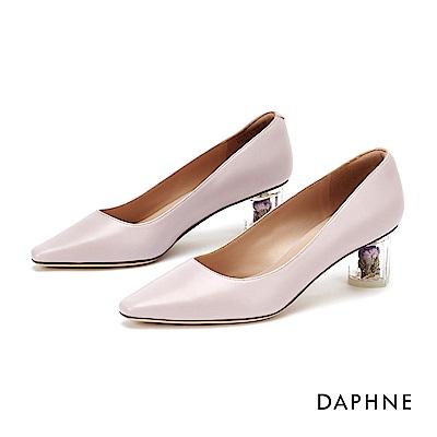 達芙妮DAPHNE 高跟鞋-時尚小方頭花漾高跟鞋-淺紫