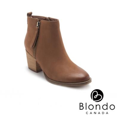 BLONDO-VEGAS2 美型復古尖頭粗跟拉鍊短靴-咖啡色