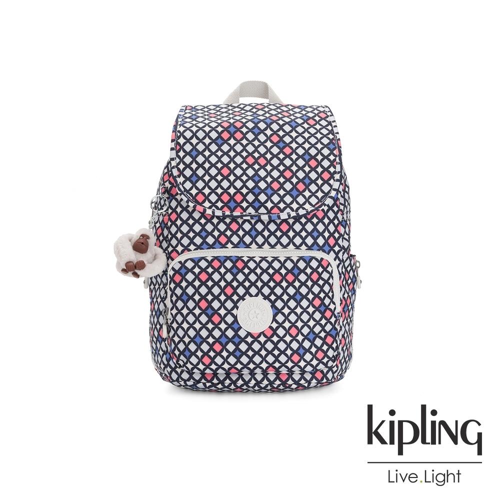 Kipling 華麗閃耀繽紛掀蓋拉鍊後背包-CAYENNE