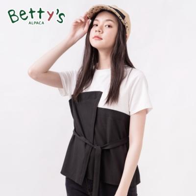 betty's貝蒂思 圓領棉T拼接風格上衣(黑色)