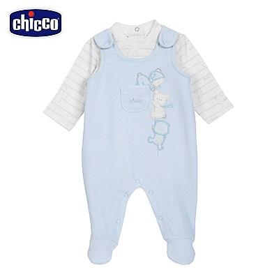 chicco-粉彩系列-剪毛絨連腳背心褲套裝-藍(3-12個月)