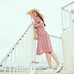 IREAL 配色條紋綁帶襯衫洋裝(可當罩衫