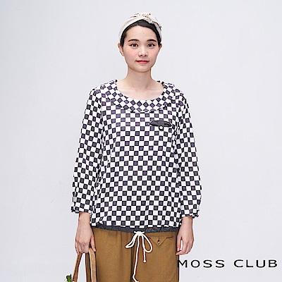 MOSS CLUB INLook 棋盤格紋圓領下擺抽繩上衣(黑色)