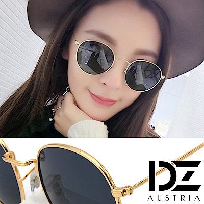 DZ 復古細點框邊 抗UV防曬太陽眼鏡墨鏡(金框灰片)