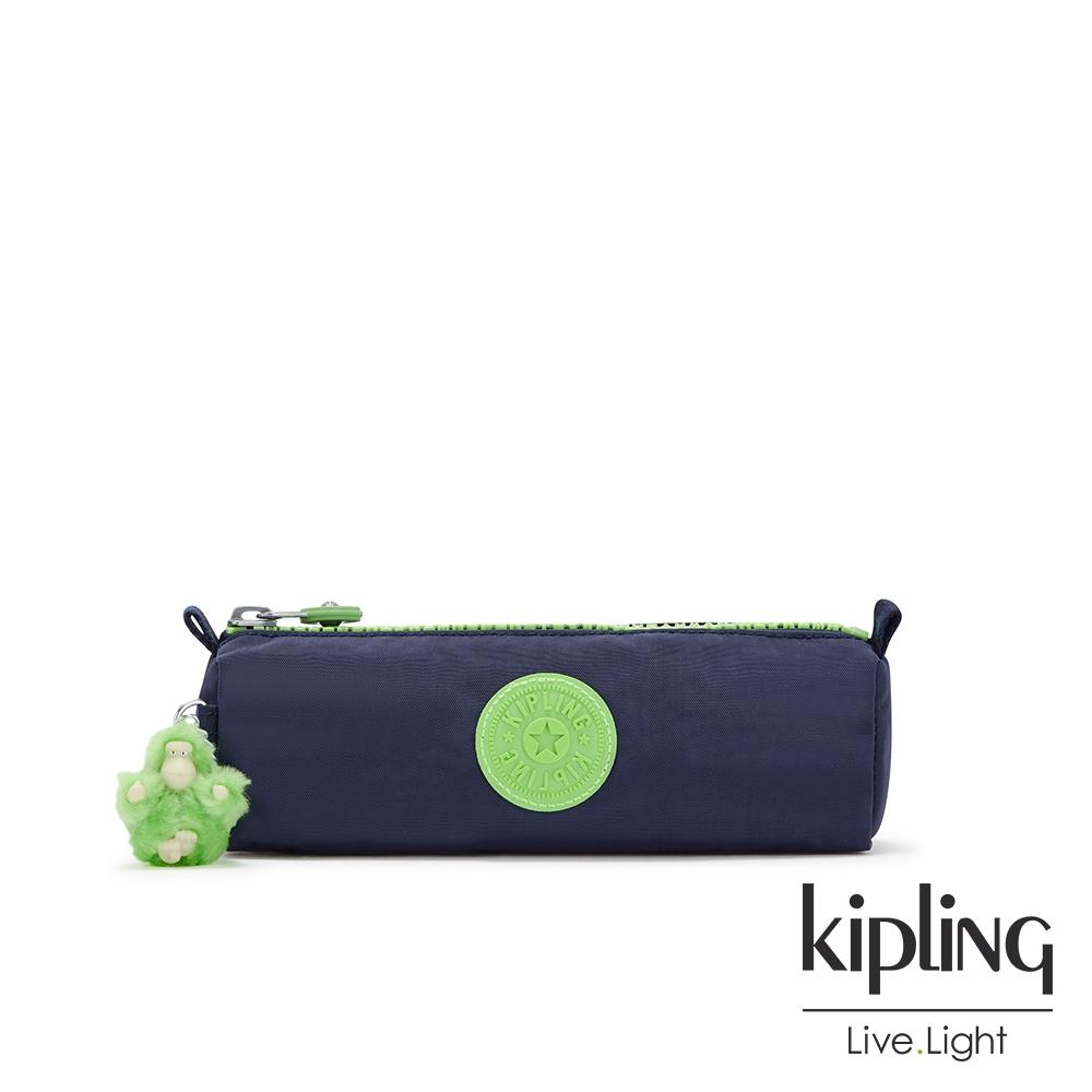 Kipling 帥氣藍拚螢光綠長形拉鍊包-FREEDOM