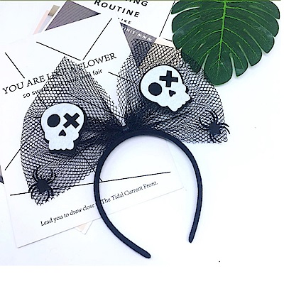 摩達客 萬聖派對頭飾-黑色網紗大蝴蝶結-俏皮骷髏頭髮箍