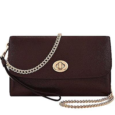 COACH 深咖啡色亮面皮革旋釦鍊帶斜背包兩用包