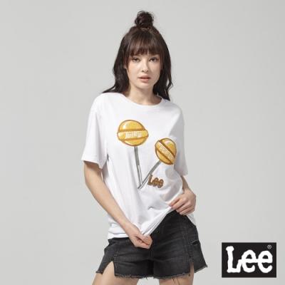 Lee短袖T恤 棒棒糖拼接-白-女