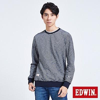 EDWIN 職人手作 仿布邊羅紋薄長袖T恤-男-丈青