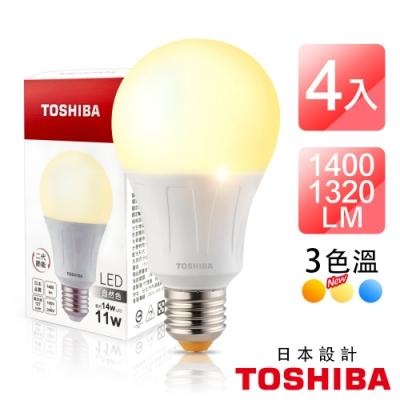 TOSHIBA東芝 4入組 第二代 高效球泡燈 廣角型 11W LED燈泡