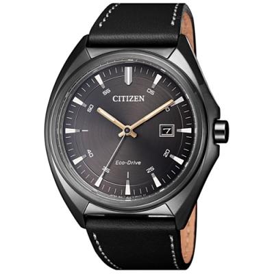 CITIZEN 星辰GENTS 時尚光動能風格皮帶腕錶-黑(AW1577-11H)