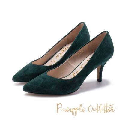 Pineapple Outfitter-VEN DENTA 麂皮素面中跟鞋-絨綠色